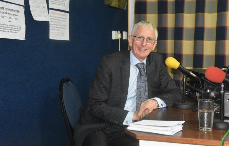 St Helena Governor Rushbrook at Saint FM Studios